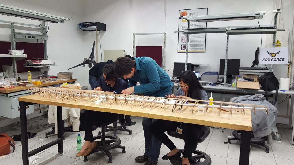 Fox Force working on wing - At Mexico College, Students Make Ideas Fly